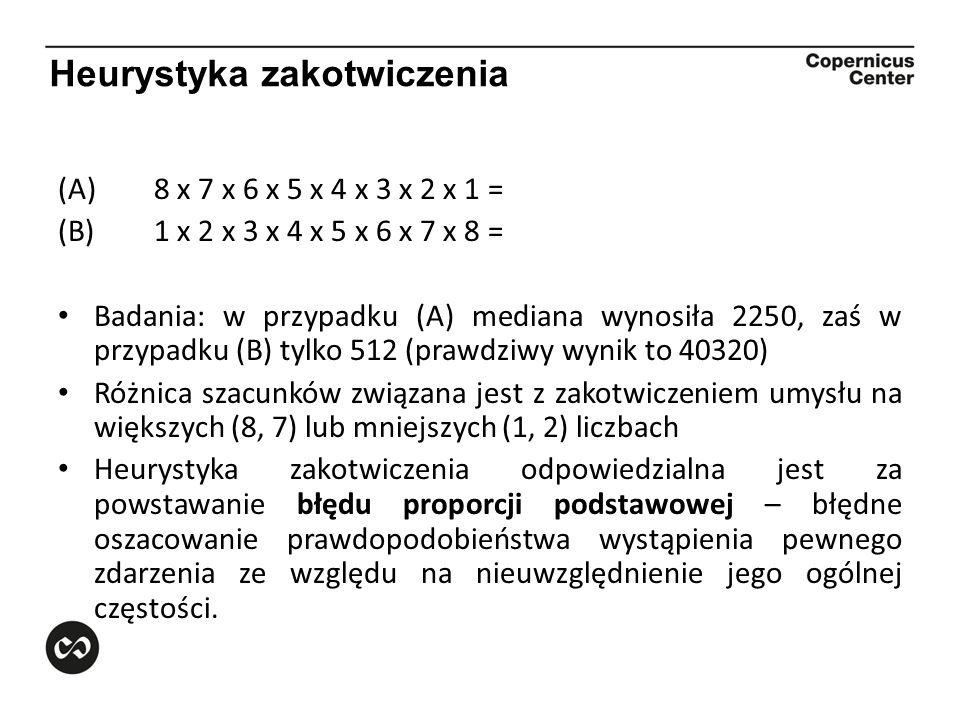 Heurystyka zakotwiczenia (A)8 x 7 x 6 x 5 x 4 x 3 x 2 x 1 = (B)1 x 2 x 3 x 4 x 5 x 6 x 7 x 8 = Badania: w przypadku (A) mediana wynosiła 2250, zaś w p