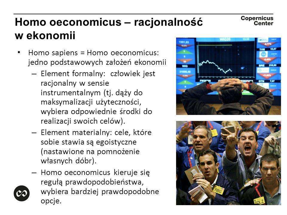 Homo oeconomicus – racjonalność w ekonomii Homo sapiens = Homo oeconomicus: jedno podstawowych założeń ekonomii – Element formalny: człowiek jest racj