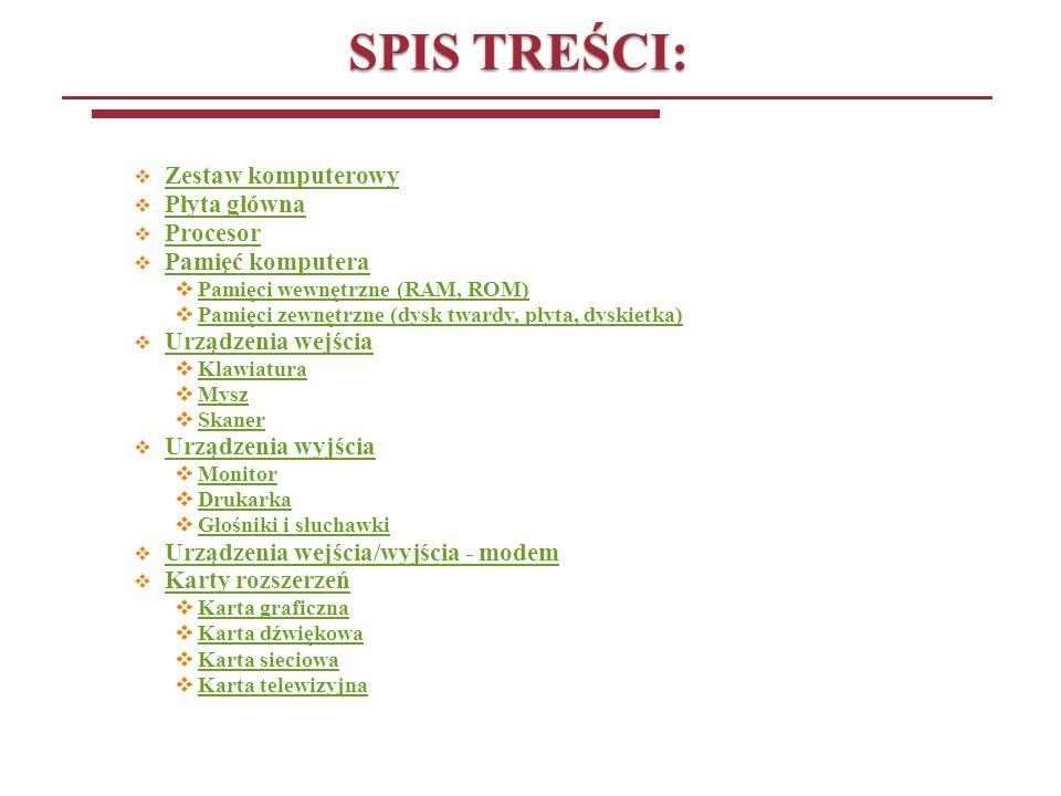 SPIS TREŚCI: Zestaw komputerowy Płyta główna Procesor Pamięć komputera Pamięci wewnętrzne (RAM, ROM) Pamięci zewnętrzne (dysk twardy, płyta, dyskietka