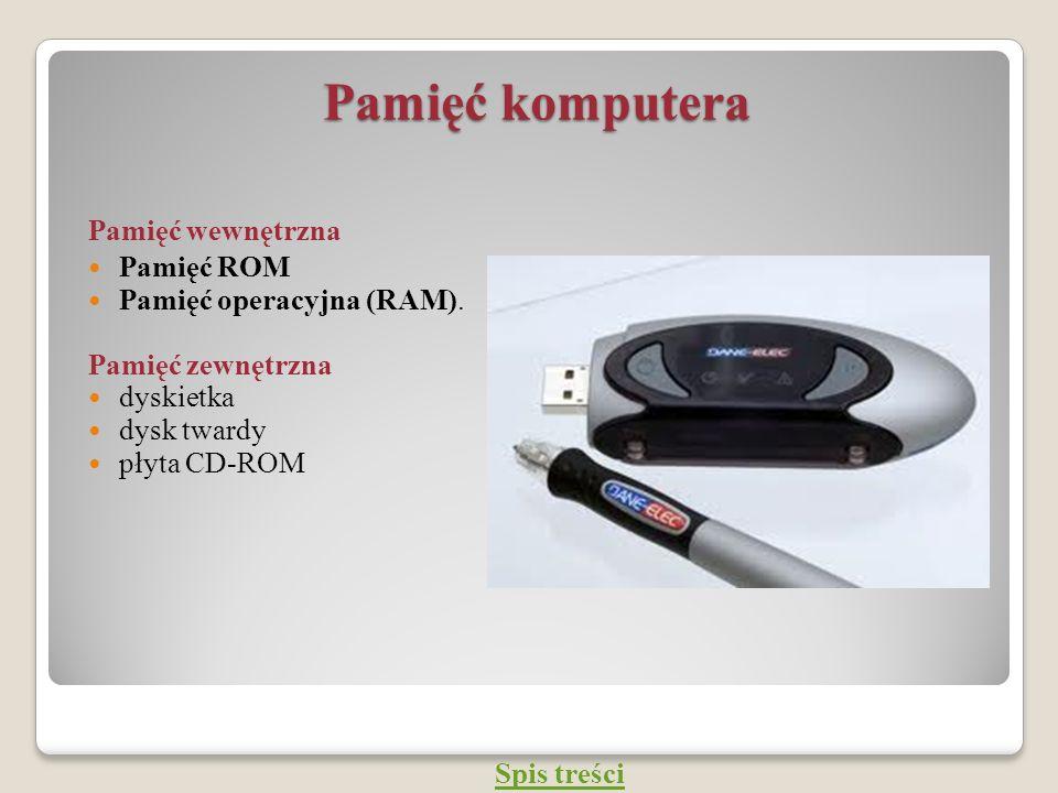 Pamięć komputera Pamięć wewnętrzna Pamięć ROM Pamięć operacyjna (RAM). Pamięć zewnętrzna dyskietka dysk twardy płyta CD-ROM Spis treści