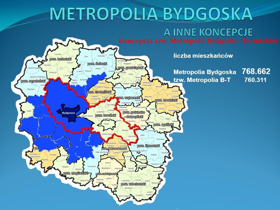 koncepcja tzw.Metropolii Bydgosko -Toruńskiej liczba mieszkańców Metropolia Bydgoska 768.662 tzw.