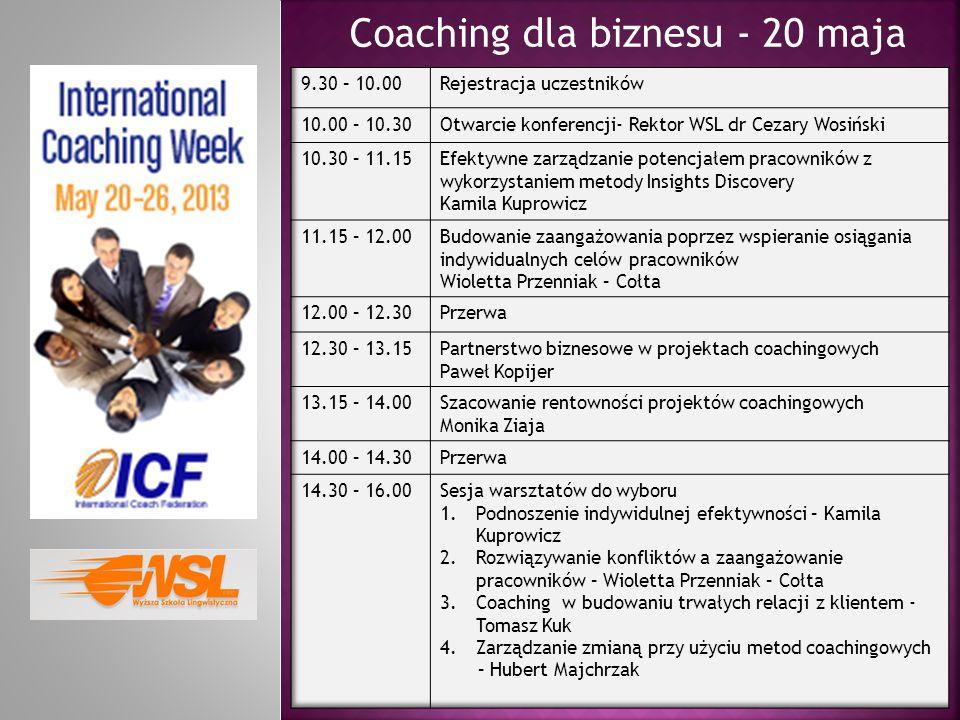Coaching dla biznesu - 20 maja
