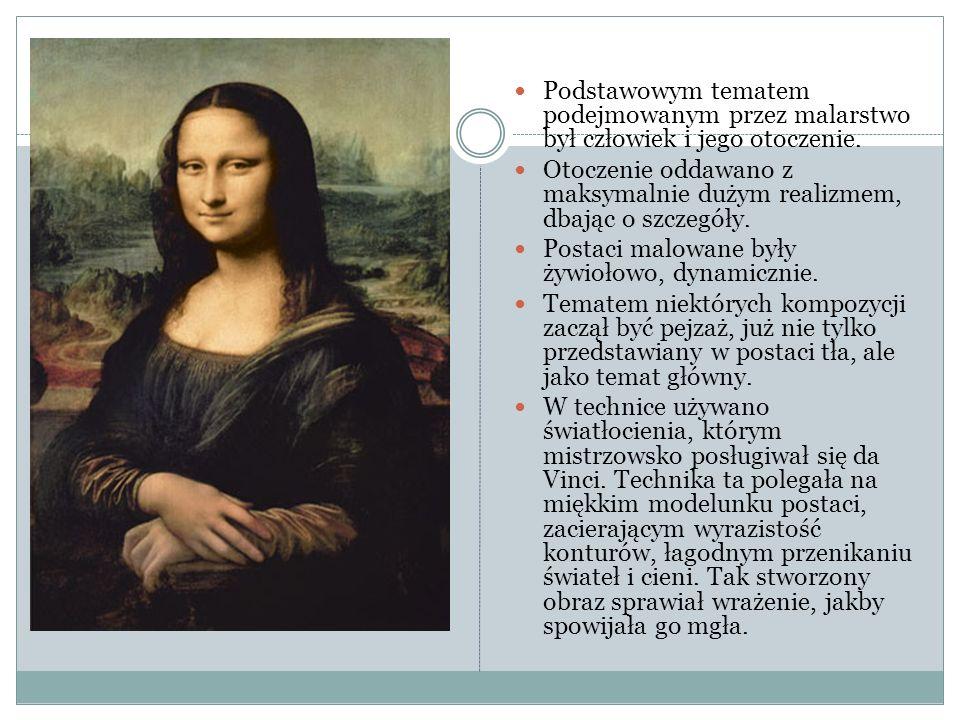 Podstawowym tematem podejmowanym przez malarstwo był człowiek i jego otoczenie. Otoczenie oddawano z maksymalnie dużym realizmem, dbając o szczegóły.