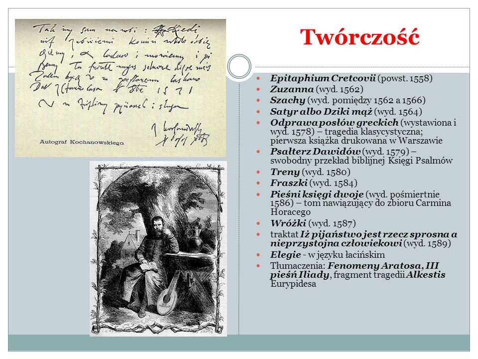 Twórczość Epitaphium Cretcovii (powst. 1558) Zuzanna (wyd. 1562) Szachy (wyd. pomiędzy 1562 a 1566) Satyr albo Dziki mąż (wyd. 1564) Odprawa posłów gr