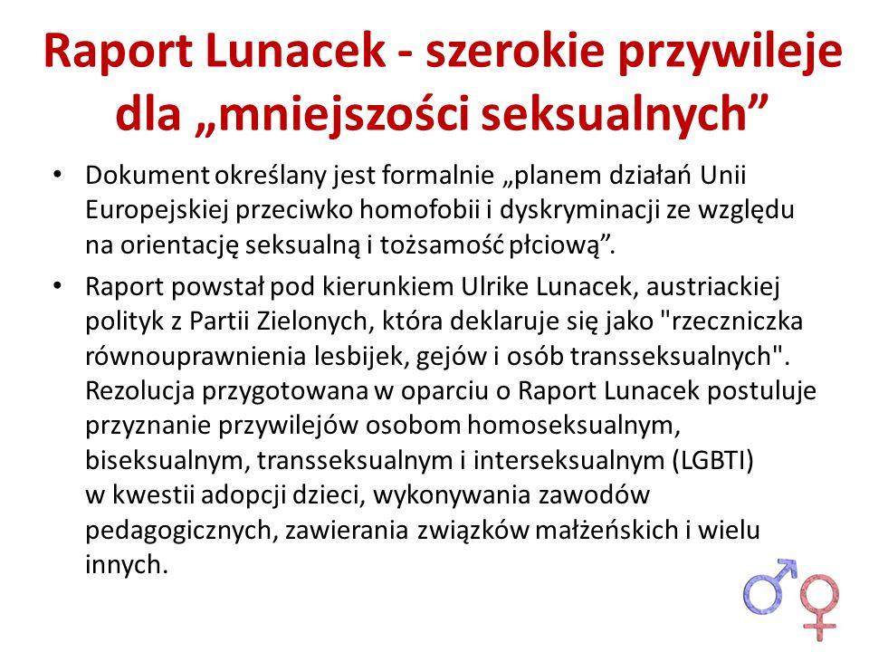 Raport Lunacek - szerokie przywileje dla mniejszości seksualnych Dokument określany jest formalnie planem działań Unii Europejskiej przeciwko homofobi
