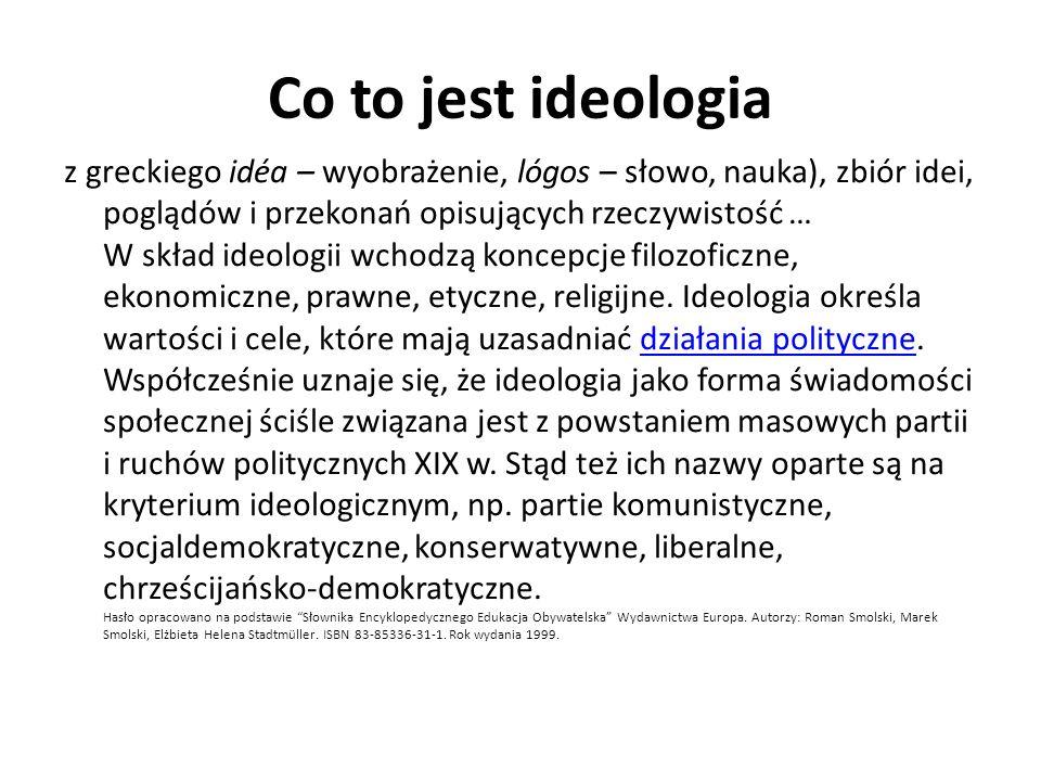 Co to jest ideologia z greckiego idéa – wyobrażenie, lógos – słowo, nauka), zbiór idei, poglądów i przekonań opisujących rzeczywistość … W skład ideol