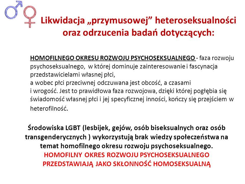 Środowiska LGBT (lesbijek, gejów, osób biseksualnych oraz osób transgenderycznych ) wykorzystują brak wiedzy społeczeństwa na temat homofilnego okresu