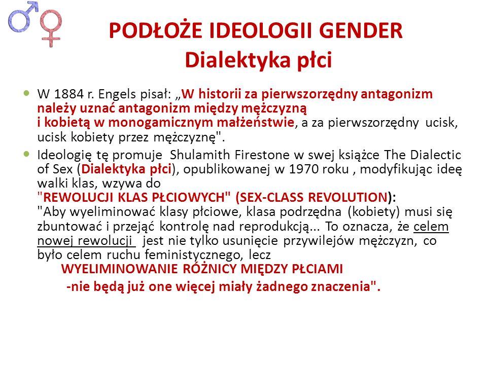 PODŁOŻE IDEOLOGII GENDER Dialektyka płci W 1884 r. Engels pisał: W historii za pierwszorzędny antagonizm należy uznać antagonizm między mężczyzną i ko