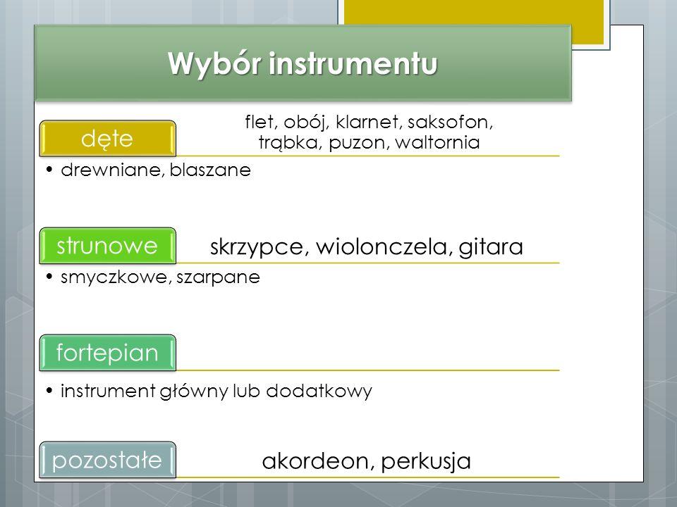 Wybór instrumentu flet, obój, klarnet, saksofon, trąbka, puzon, waltornia dęte drewniane, blaszane skrzypce, wiolonczela, gitara strunowe smyczkowe, szarpane akordeon, perkusja fortepian instrument główny lub dodatkowy pozostałe