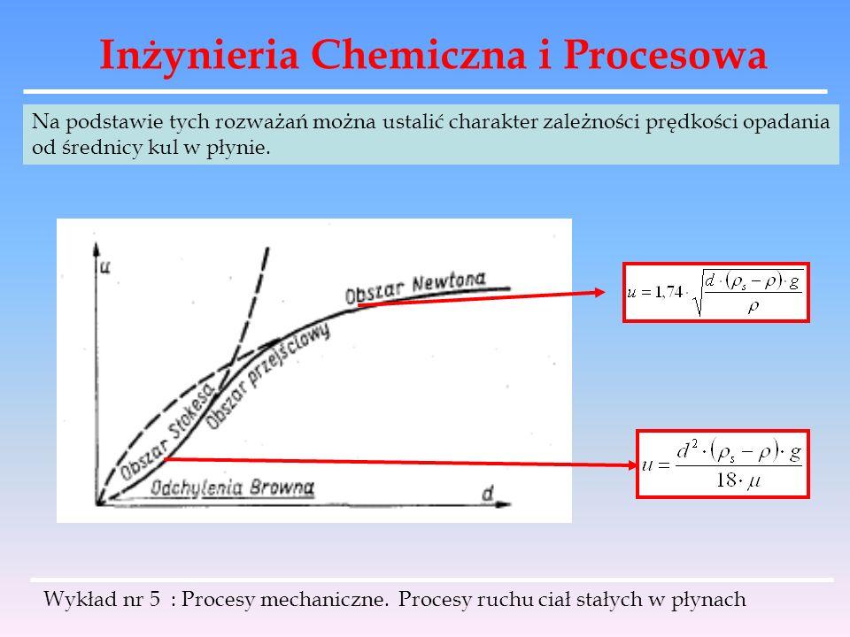 Inżynieria Chemiczna i Procesowa Na podstawie tych rozważań można ustalić charakter zależności prędkości opadania od średnicy kul w płynie. Wykład nr