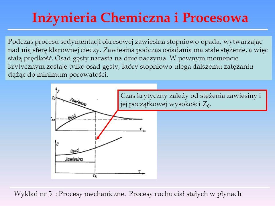 Inżynieria Chemiczna i Procesowa Podczas procesu sedymentacji okresowej zawiesina stopniowo opada, wytwarzając nad nią sferę klarownej cieczy. Zawiesi