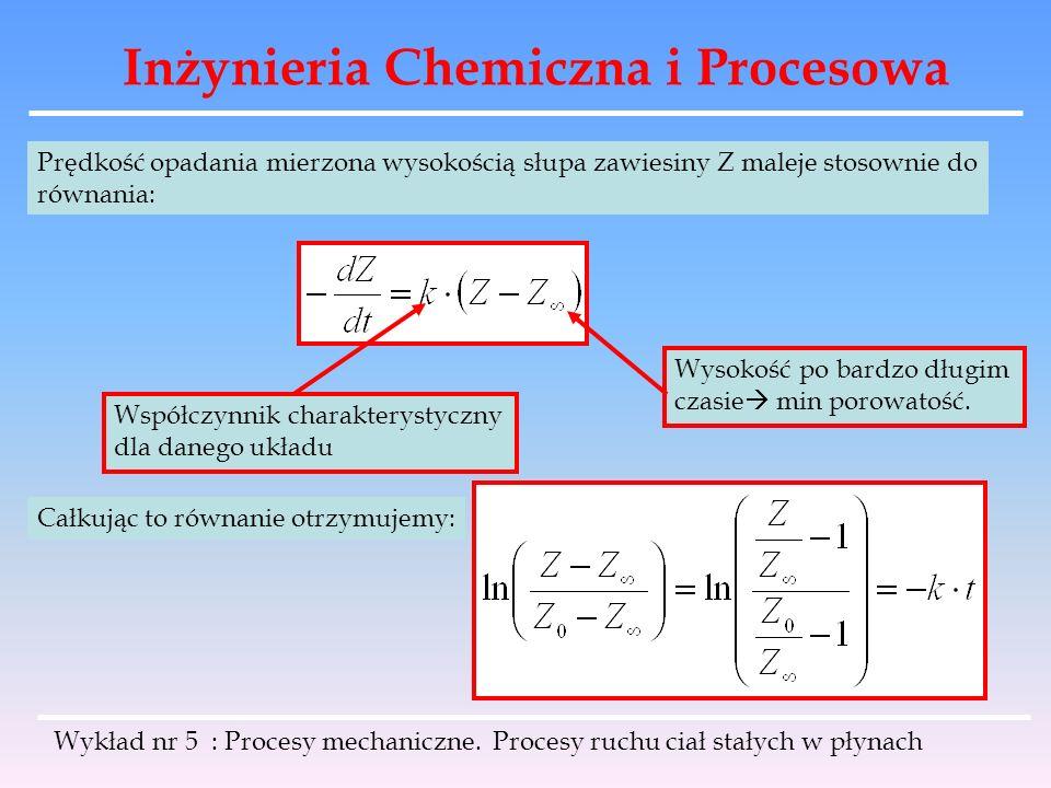 Inżynieria Chemiczna i Procesowa Prędkość opadania mierzona wysokością słupa zawiesiny Z maleje stosownie do równania: Wysokość po bardzo długim czasi