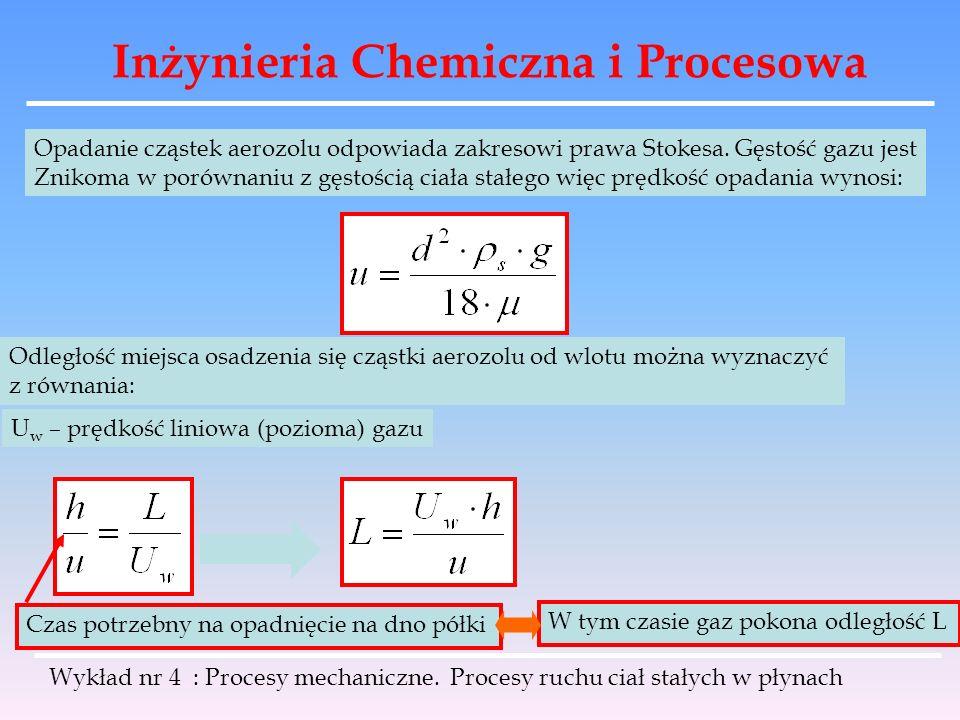 Inżynieria Chemiczna i Procesowa Wykład nr 4 : Procesy mechaniczne. Procesy ruchu ciał stałych w płynach Opadanie cząstek aerozolu odpowiada zakresowi
