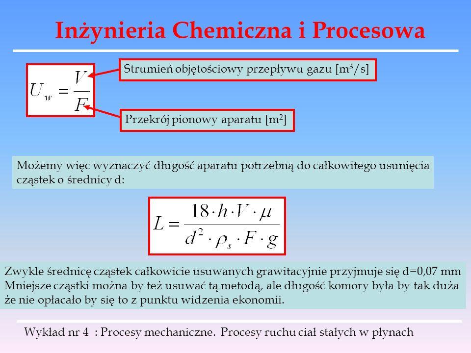 Inżynieria Chemiczna i Procesowa Wykład nr 4 : Procesy mechaniczne. Procesy ruchu ciał stałych w płynach Strumień objętościowy przepływu gazu [m 3 /s]