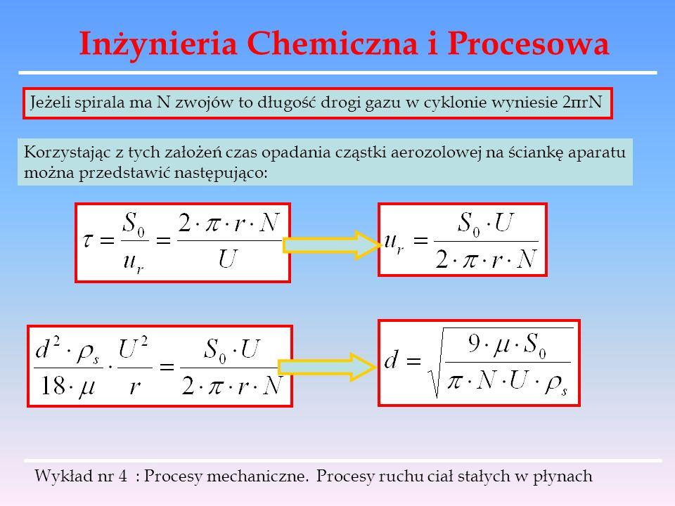 Inżynieria Chemiczna i Procesowa Wykład nr 4 : Procesy mechaniczne. Procesy ruchu ciał stałych w płynach Jeżeli spirala ma N zwojów to długość drogi g