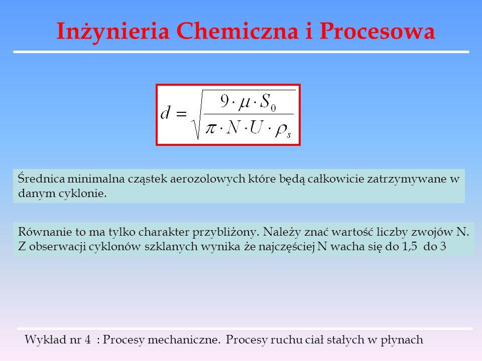 Inżynieria Chemiczna i Procesowa Wykład nr 4 : Procesy mechaniczne. Procesy ruchu ciał stałych w płynach Średnica minimalna cząstek aerozolowych które