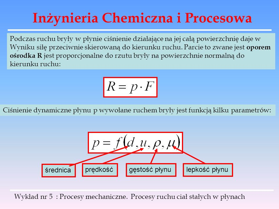 Inżynieria Chemiczna i Procesowa Podczas ruchu bryły w płynie ciśnienie działające na jej całą powierzchnię daje w Wyniku siłę przeciwnie skierowaną d