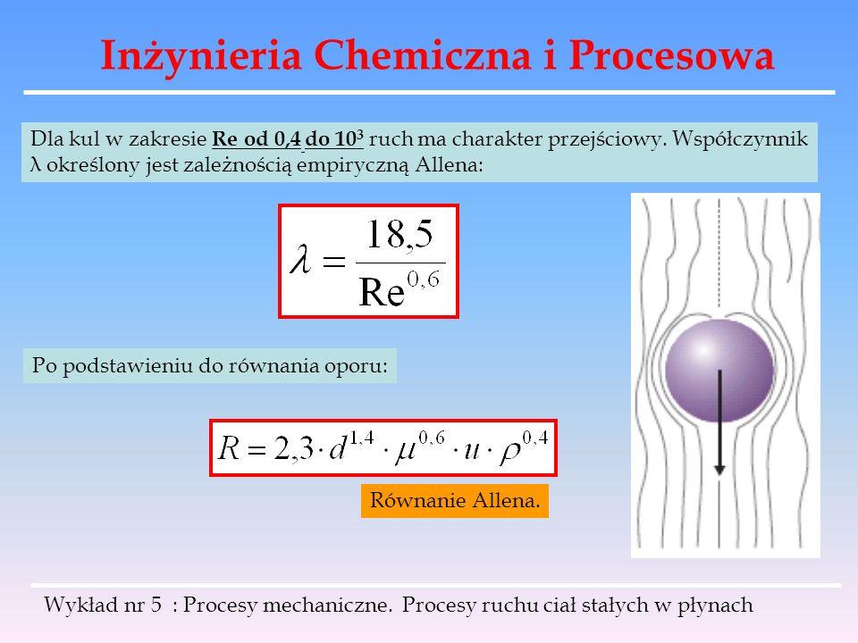 Inżynieria Chemiczna i Procesowa Dla kul w zakresie Re od 0,4 do 10 3 ruch ma charakter przejściowy. Współczynnik λ określony jest zależnością empiryc