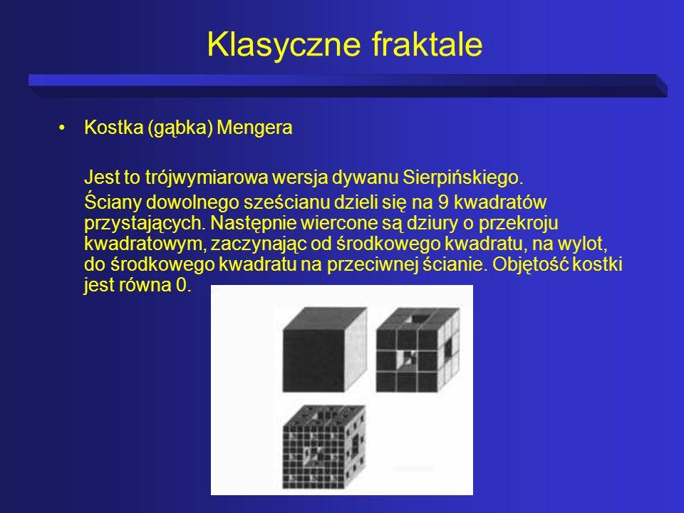 Klasyczne fraktale Kostka (gąbka) Mengera Jest to trójwymiarowa wersja dywanu Sierpińskiego. Ściany dowolnego sześcianu dzieli się na 9 kwadratów przy
