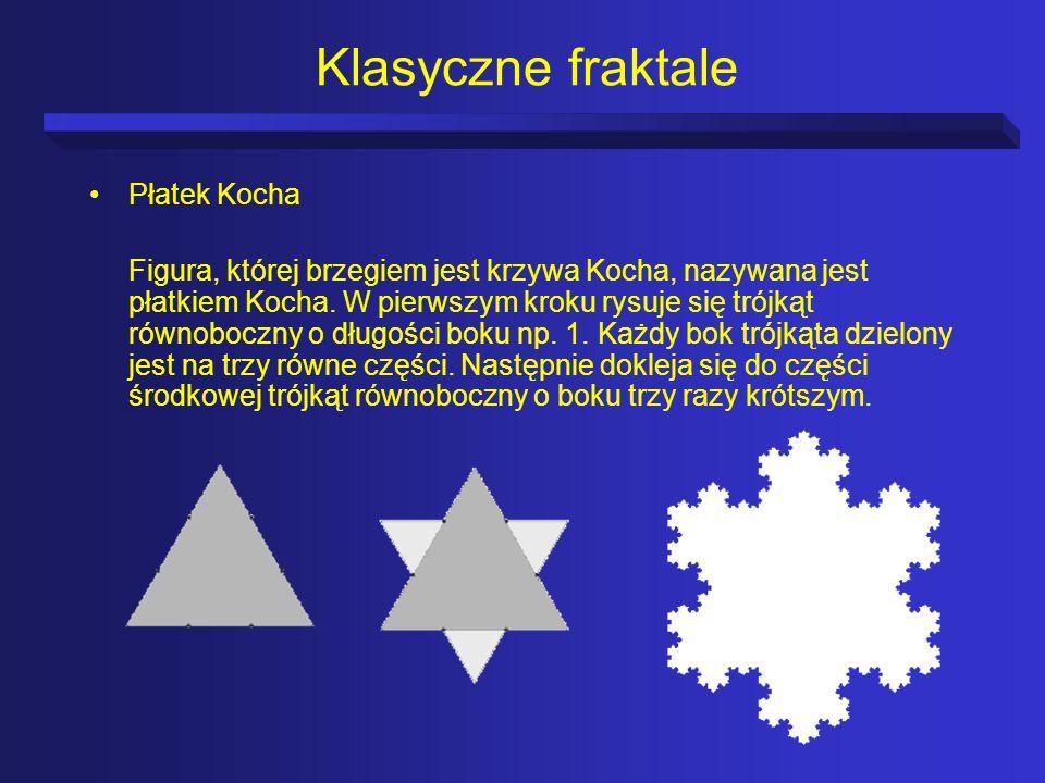 Klasyczne fraktale Płatek Kocha Figura, której brzegiem jest krzywa Kocha, nazywana jest płatkiem Kocha. W pierwszym kroku rysuje się trójkąt równoboc