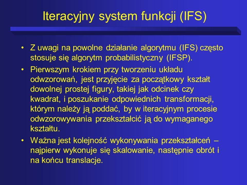 Iteracyjny system funkcji (IFS) Z uwagi na powolne działanie algorytmu (IFS) często stosuje się algorytm probabilistyczny (IFSP). Pierwszym krokiem pr