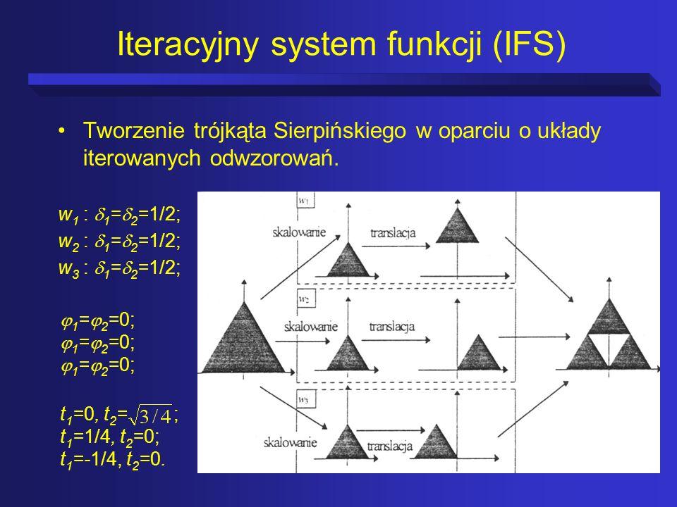 Iteracyjny system funkcji (IFS) Tworzenie trójkąta Sierpińskiego w oparciu o układy iterowanych odwzorowań. w 1 : 1 = 2 =1/2; w 2 : 1 = 2 =1/2; w 3 :