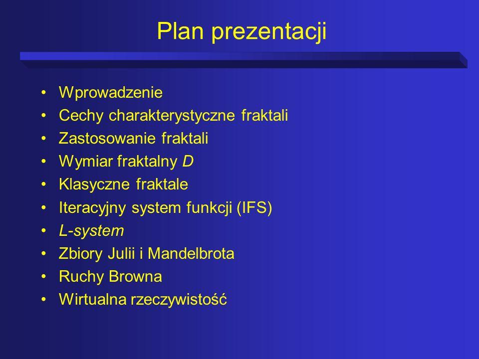 Plan prezentacji Wprowadzenie Cechy charakterystyczne fraktali Zastosowanie fraktali Wymiar fraktalny D Klasyczne fraktale Iteracyjny system funkcji (