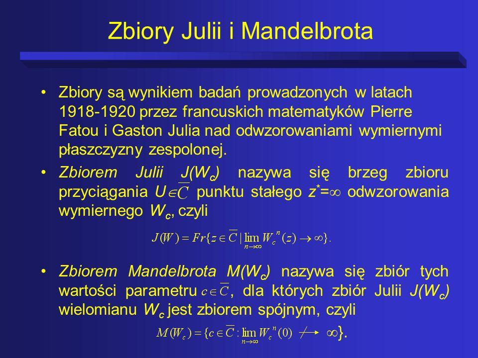 Zbiory Julii i Mandelbrota Zbiory są wynikiem badań prowadzonych w latach 1918-1920 przez francuskich matematyków Pierre Fatou i Gaston Julia nad odwz