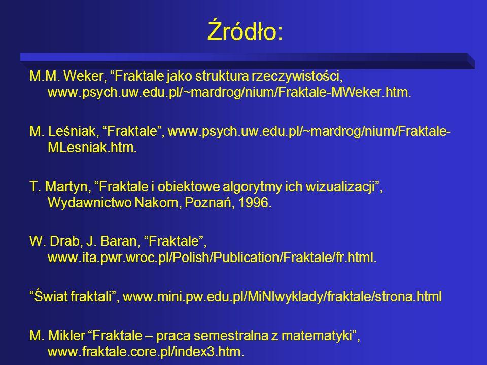 Źródło: M.M. Weker, Fraktale jako struktura rzeczywistości, www.psych.uw.edu.pl/~mardrog/nium/Fraktale-MWeker.htm. M. Leśniak, Fraktale, www.psych.uw.