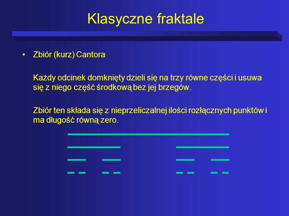 Klasyczne fraktale Zbiór (kurz) Cantora Każdy odcinek domknięty dzieli się na trzy równe części i usuwa się z niego część środkową bez jej brzegów. Zb