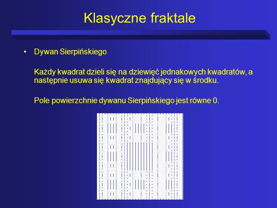 Klasyczne fraktale Dywan Sierpińskiego Każdy kwadrat dzieli się na dziewięć jednakowych kwadratów, a następnie usuwa się kwadrat znajdujący się w środ