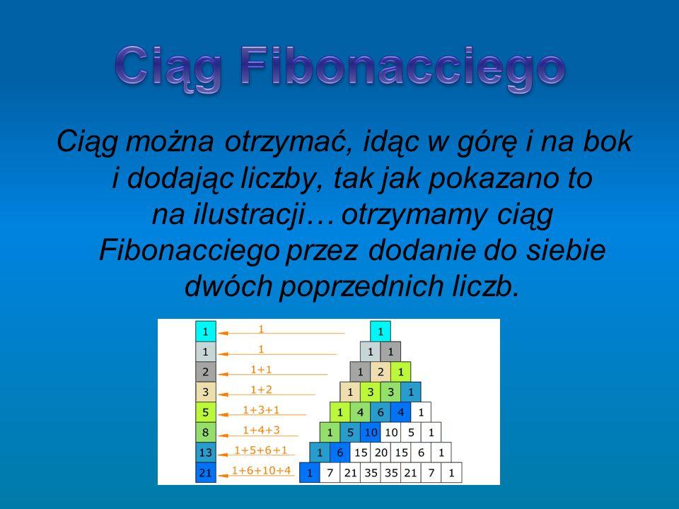 Ciąg można otrzymać, idąc w górę i na bok i dodając liczby, tak jak pokazano to na ilustracji… otrzymamy ciąg Fibonacciego przez dodanie do siebie dwó