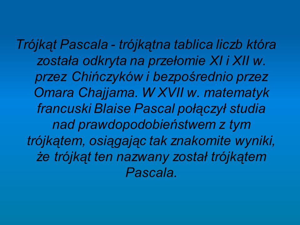 Trójkąt Pascala - trójkątna tablica liczb która została odkryta na przełomie XI i XII w. przez Chińczyków i bezpośrednio przez Omara Chajjama. W XVII
