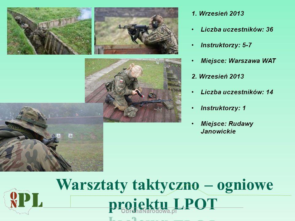 1. Wrzesień 2013 Liczba uczestników: 36 Instruktorzy: 5-7 Miejsce: Warszawa WAT 2.