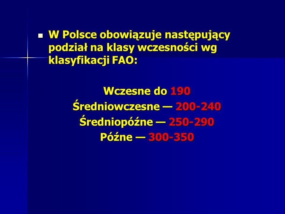 W Polsce obowiązuje następujący podział na klasy wczesności wg klasyfikacji FAO: W Polsce obowiązuje następujący podział na klasy wczesności wg klasyfikacji FAO: Wczesne do 190 Średniowczesne 200-240 Średniopóźne 250-290 Późne 300-350