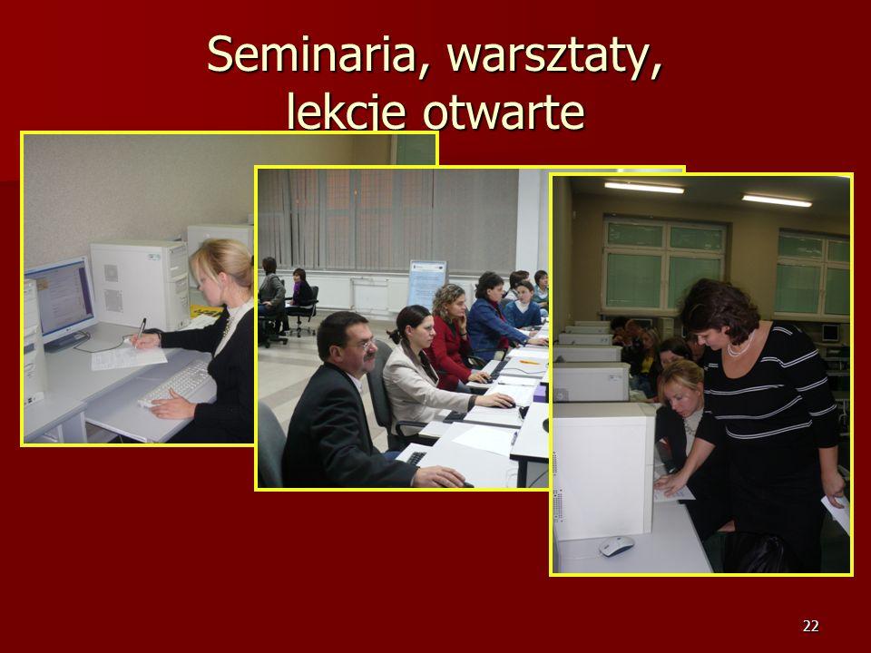 21 Spotkania i wykłady 9. Wykorzystanie tablicy interaktywnej na lekcjach języków obcych. 10. Zastosowanie e-learningu w nauczaniu języka angielskiego