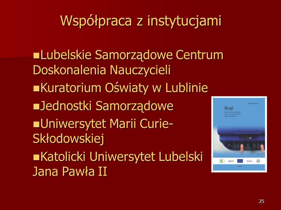 24 Współpraca z instytucjami British Council w Lublinie British Council w Lublinie Goethe Institut w Warszawie i Goethe Zentrum w Lublinie Goethe Inst