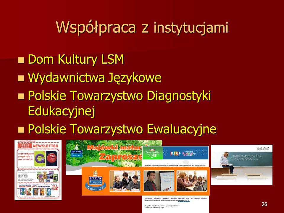 25 Współpraca z instytucjami Lubelskie Samorządowe Centrum Doskonalenia Nauczycieli Lubelskie Samorządowe Centrum Doskonalenia Nauczycieli Kuratorium