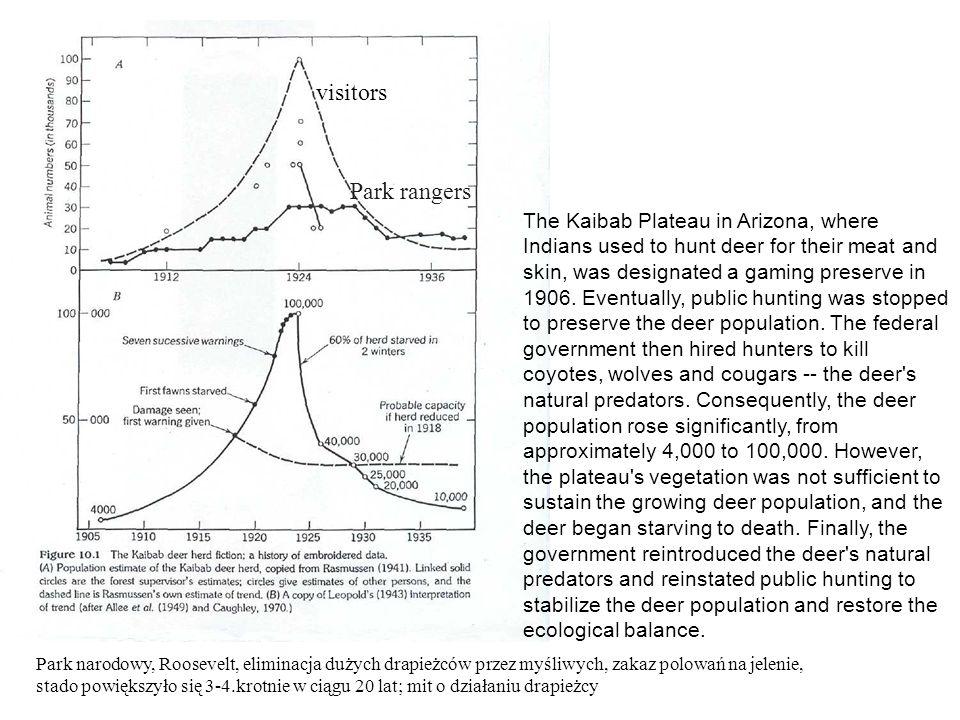Park narodowy, Roosevelt, eliminacja dużych drapieżców przez myśliwych, zakaz polowań na jelenie, stado powiększyło się 3-4.krotnie w ciągu 20 lat; mi