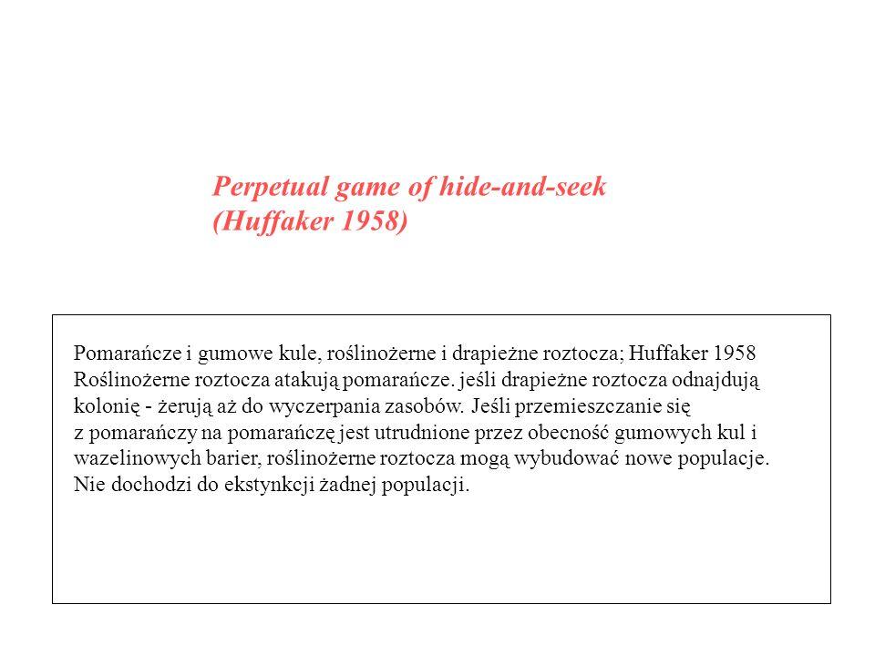 Pomarańcze i gumowe kule, roślinożerne i drapieżne roztocza; Huffaker 1958 Roślinożerne roztocza atakują pomarańcze. jeśli drapieżne roztocza odnajduj