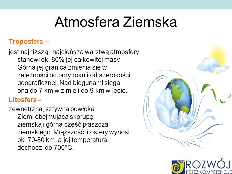 Atmosfera ziemska Największą rolę odgrywa typ termiczny i wilgotnościowy stanów atmosfery.