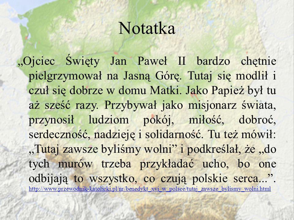 Notatka Ojciec Święty Jan Paweł II bardzo chętnie pielgrzymował na Jasną Górę. Tutaj się modlił i czuł się dobrze w domu Matki. Jako Papież był tu aż
