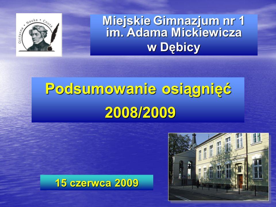 Miejskie Gimnazjum nr 1 im. Adama Mickiewicza w Dębicy Podsumowanie osiągnięć 2008/2009 2008/2009 15 czerwca 2009