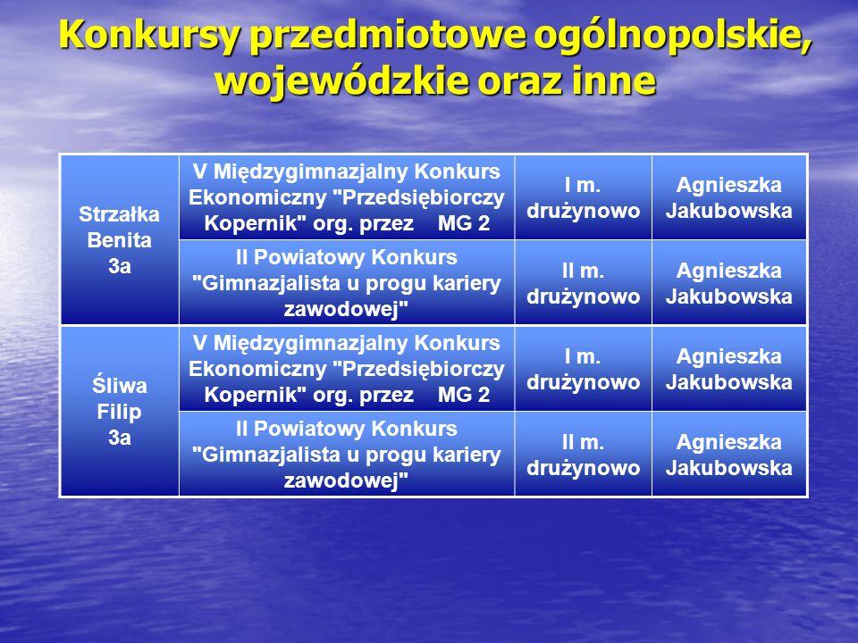 Konkursy przedmiotowe ogólnopolskie, wojewódzkie oraz inne Strzałka Benita 3a V Międzygimnazjalny Konkurs Ekonomiczny
