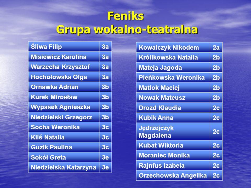 Feniks Grupa wokalno-teatralna Śliwa Filip3a Misiewicz Karolina3a Warzecha Krzysztof3a Hochołowska Olga3a Ornawka Adrian3b Kurek Mirosław3b Wypasek Ag