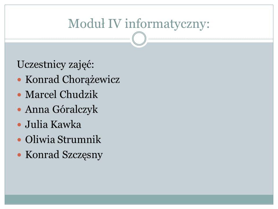 Moduł IV informatyczny: Uczestnicy zajęć: Konrad Chorążewicz Marcel Chudzik Anna Góralczyk Julia Kawka Oliwia Strumnik Konrad Szczęsny
