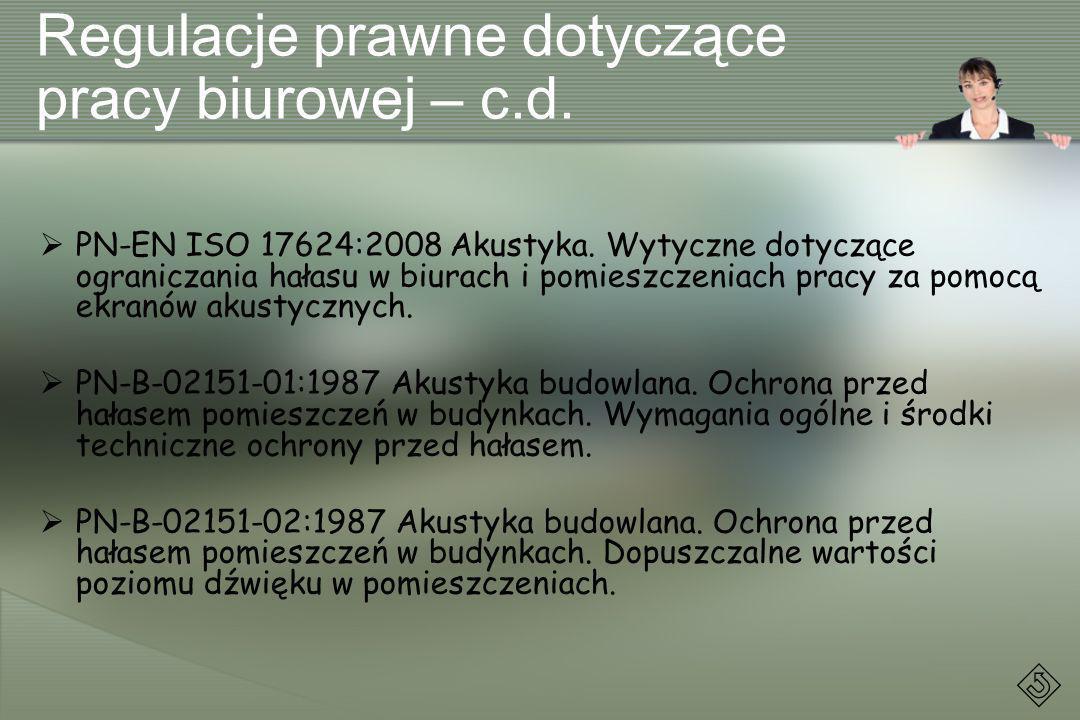 Regulacje prawne dotyczące pracy biurowej – c.d. PN-EN ISO 17624:2008 Akustyka. Wytyczne dotyczące ograniczania hałasu w biurach i pomieszczeniach pra