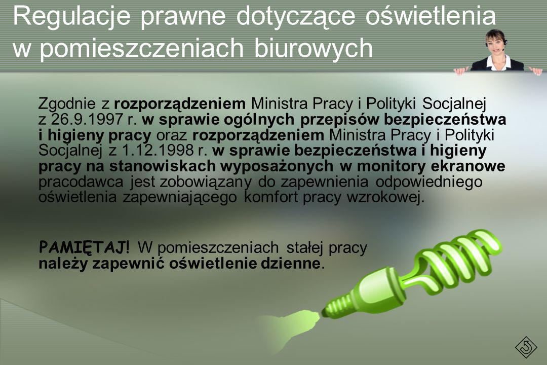 Zgodnie z rozporządzeniem Ministra Pracy i Polityki Socjalnej z 26.9.1997 r. w sprawie ogólnych przepisów bezpieczeństwa i higieny pracy oraz rozporzą