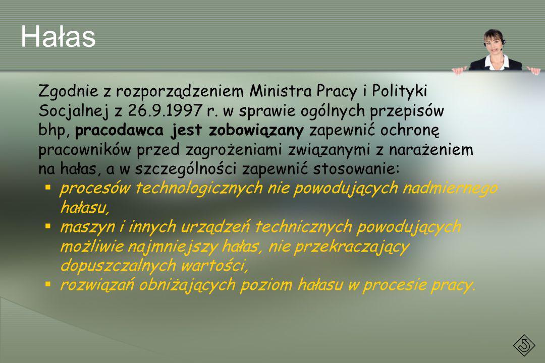 Hałas Zgodnie z rozporządzeniem Ministra Pracy i Polityki Socjalnej z 26.9.1997 r. w sprawie ogólnych przepisów bhp, pracodawca jest zobowiązany zapew