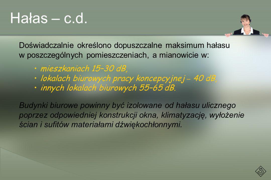 Hałas – c.d. Doświadczalnie określono dopuszczalne maksimum hałasu w poszczególnych pomieszczeniach, a mianowicie w: mieszkaniach 15–30 dB, lokalach b